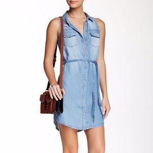 Love Stitch Sleeveless Button Up Denim Dress
